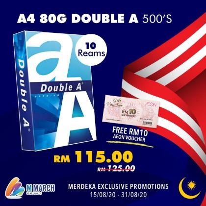 Double A Copier Paper A4 80gsm 500 Sheets [10 Reams]