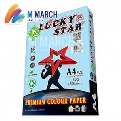 Ik Lucky Star Colour Paper A4 80 gsm 450 Sheets (Blue)