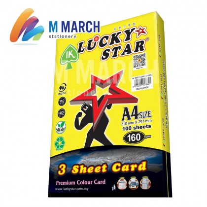 Ik Lucky Star A4 3 Sheet Card 160 gsm 100 Sheets (Lemon)