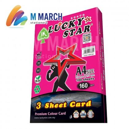 Ik Lucky Star A4 3 Sheet Card 160 gsm 100 Sheets (Cyber Red)