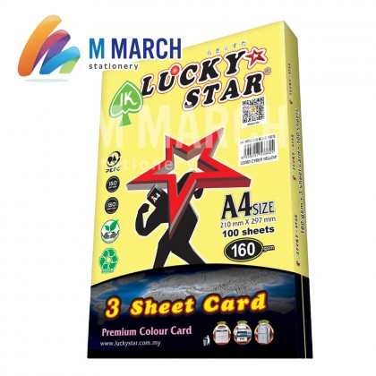 Ik Lucky Star A4 3 Sheet Card 160 gsm 100 Sheets (Cyber Yellow)